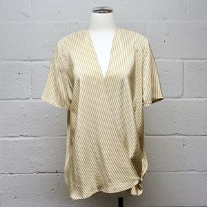 SALE Vintage Silk Yellow White Stripe Wrap Blouse